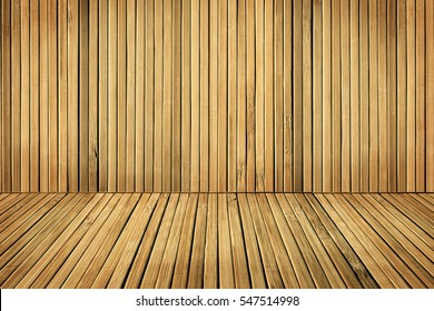 Wood Floor and Wall Planks, Room Boarded By Old Plank, Brown Wooden Interior