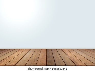 Wood floor and white wall, empty room for background. Big empty room in grange style with wooden floor, 3d wall