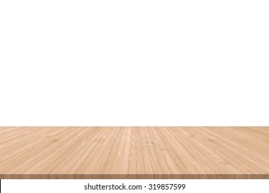 Wood floor wooden texture terrace isolated with empty white wall background for interior design decoration backdrop