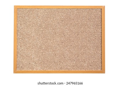 wood frame Cork board isolated on white background