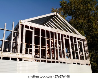 Wood frame house construction.