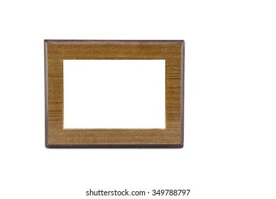 Wood frame isolated on white. Clipping path