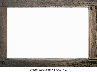 Wood Frame Isolated On White, Old Plank
