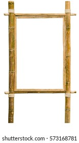 wood frame made from bamboo isolated on white background with clipping path