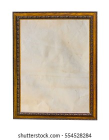 Wood frame with old paper fill isolated on white background