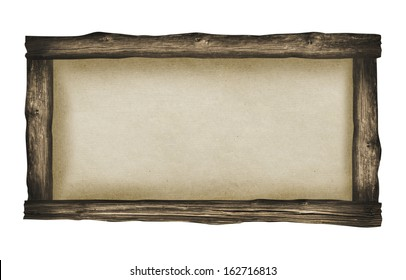 Wood frame with paper fill isolated on white