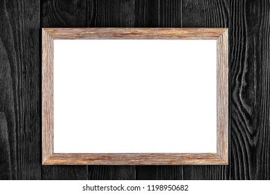 Wood frame or photo frame isolated on the black background