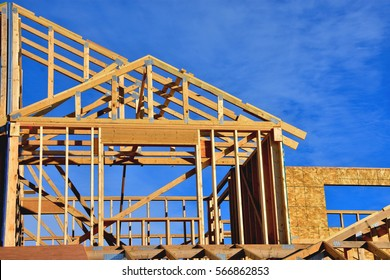 wood frame residential building under construction.