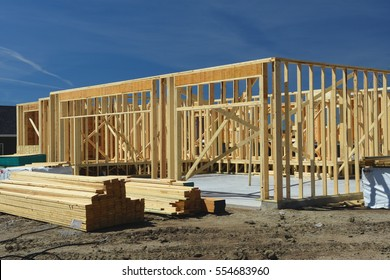 wood frame residential construction site.