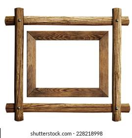 Wood frames set isolated on white
