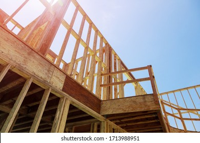 Wood framing a house condominium under construction on built new home