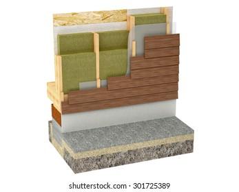 wood framing house insulation isolated on white background