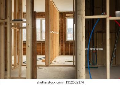 Wood framing on a retrofit interior renovation project in Toronto, Ontario