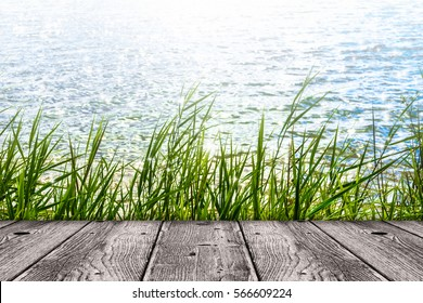 wood front grass lakeside