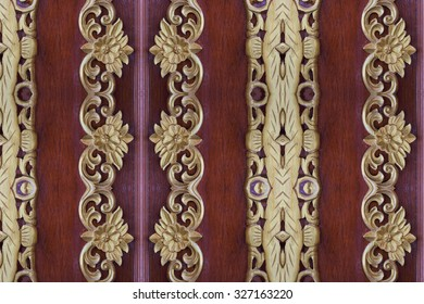 Wood gold pattern carve close