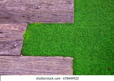 Wood and Green Grass Background and Texture