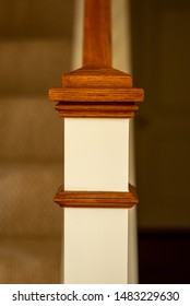wood hand rail and banister for stairs to upstairs white paint