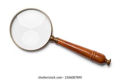 Wood Handle Magniying Glass Isolated on White.