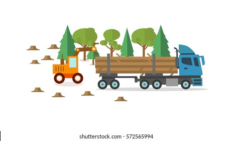 Wood harvested is sent to a paper processing plant for use in presentations, education manuals, design, etc 3D illustration