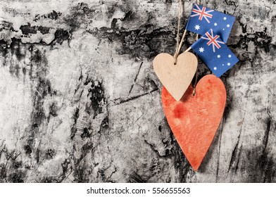 Wood Heart Australia Flag On Wood Stock Photo Edit Now 562799320