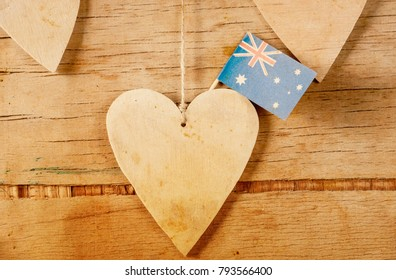 Wood Heart Australian Flag National Day Stock Photo Edit Now