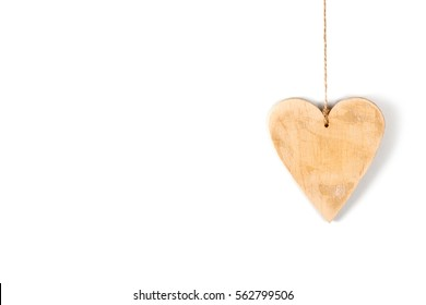 Wood hearts isolated on white. Valentine's day.