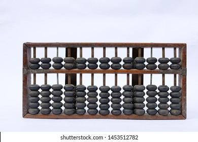 wood high quality ancient abacus with white background