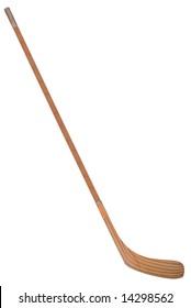 wood Hockey stick isolated over white