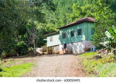 Wood house in countryside in Linha Alegre, Mucum, Rio Grande do Sul, Brazil