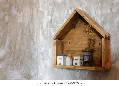 wood house on the wall