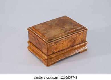 Wood jewelry box on white background