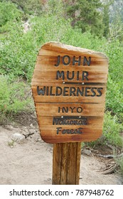 wood John Muir Wilderness sign in the Inyo National Forest