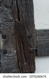 Wood Joint in Oak Beams on a Tudor Building