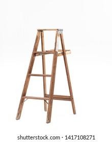 Wood Ladder Vintage white background