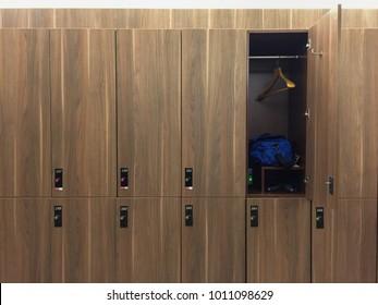 Wood locker at the Gym
