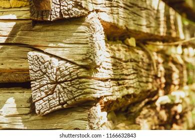 Wood log home wall and end grain