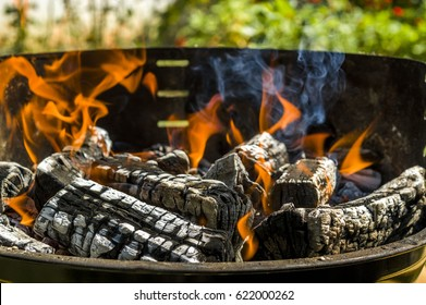 Wood logs burning in the fireplace. Firewood in flames for barbecue. Close-up