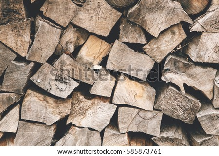 Wood Logs Storage. Pieces Of Wood Stump Background. Wooden Textured  Backdrop.