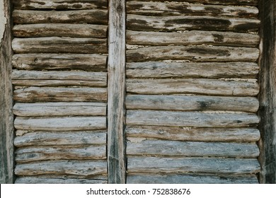 Wood logs wall of rural house perfect for  background