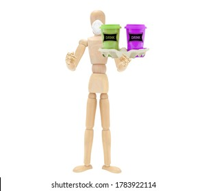 Wood mannequin wearing face mask holding travel mugs in tray white background