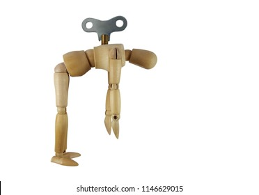 Wood mannequin.Energy-draining puppets for winding up.Exhausted in work.White background.