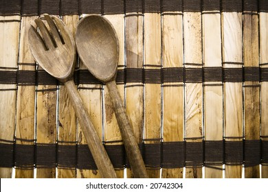 Wood Mat with Fork and Spoon