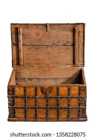 wood and metal strap ancient chest or  storage trunk with top open  isolated on white