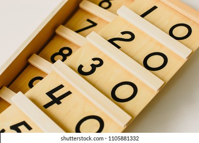 Wood montessori material, numbers class at school with math bars