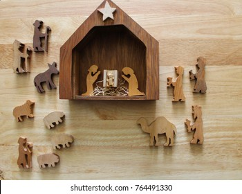 wood nativity manger christmas scene