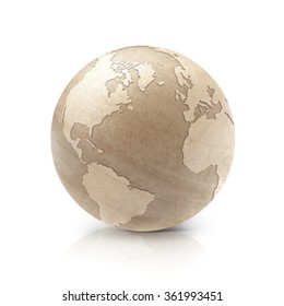 Wood North and South America world map on white background