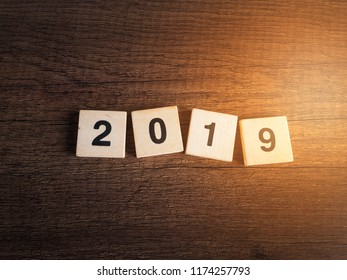 wood number 2019 background happy new year 2019 concept.