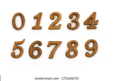 wood number Zero on white background