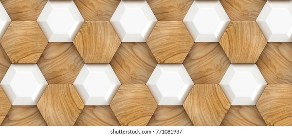 Wood oak 3d tiles texture with white plastic elements. Material wood oak. High quality seamless realistic texture. For wall, web, floor, auto vinil.