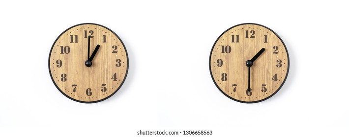 wood office wall clock with white dial on white background. wall clock on white background, top view.